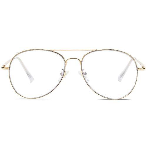 SOJOS Gafas de Sol de Metal Clásico Marco del Espejo Lente Con las Bisagras del Resorte SJ1030 Con Marco Dorado/Lentes Transparentes