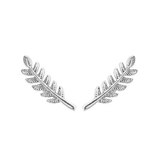Silber Olive Leaf Ohr Kletterer/einfache Minimal Ohr Crawler Stud Ohrring von Rivertree