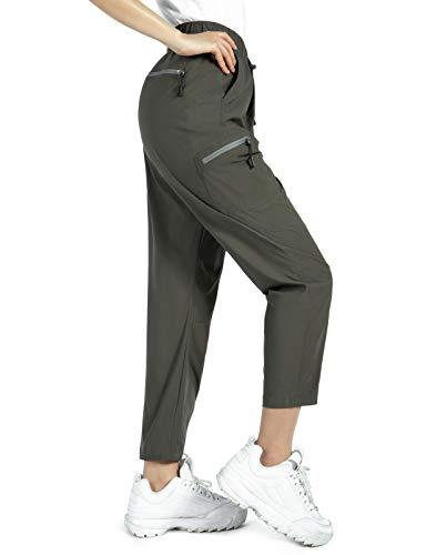 Wespornow Damen Outdoor Wanderhose mit Reißverschlusstaschen-Schnelltrocknend-Trekkinghose-Ultraleichter Verschleißfester-UV-Schutz -Atmungsaktiv Sommer Funktionshose(Bk Olive, XXL)