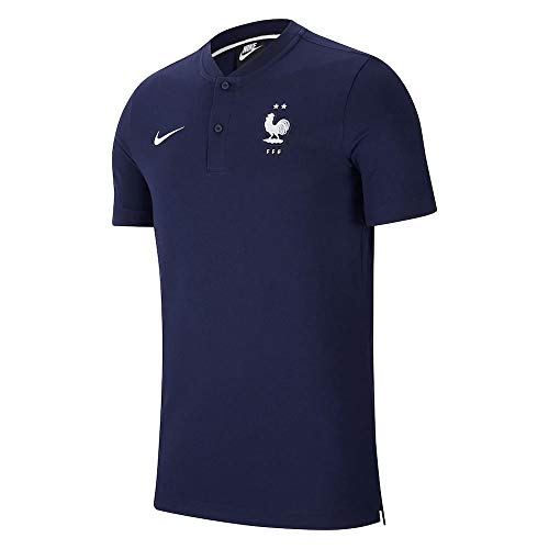 Nike 2020-2021 France Authentic Polo Football Soccer T-Shirt Jersey (Obsidian)