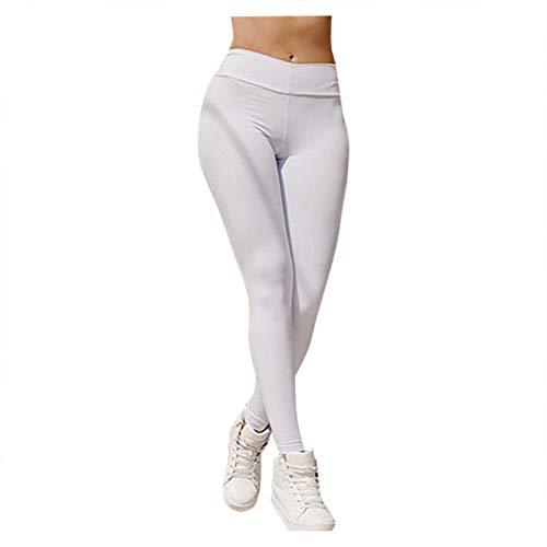 Mallas Pantalones Deportivos Leggings Mujer Yoga de Alta Cintura Color Sólido para Yoga Gimnasio Correr Fitness