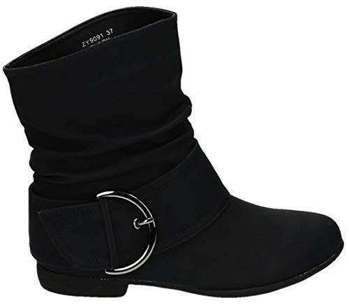 King Of Shoes Damen Stiefeletten Cowboy Western Stiefel Boots Flache Schlupfstiefel Schuhe 91 (37, Schwarz)