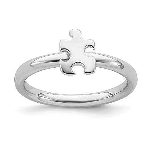 Stackable Expressions 2.5mm Sterling Silver Autism Awareness Puzzle Piece Ring - Size 6
