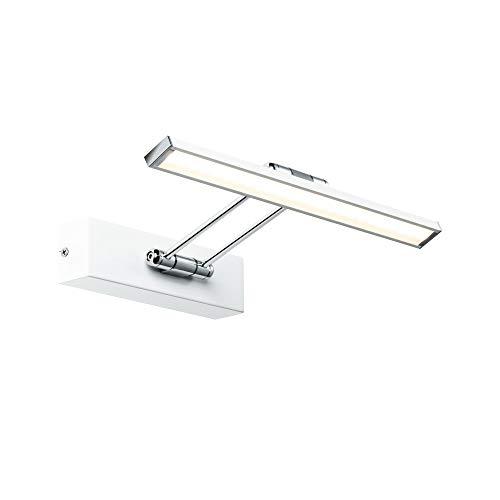 Paulmann 99891 LED Bilderleuchte Galeria incl. 1x5 Watt Bildbeleuchtung Weiß, Chrom Bilderlampe Metall Aufsatzlampe 2700 K