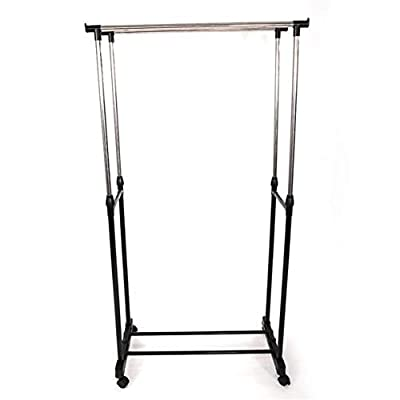 Metal Garment Rack with Wheels, Dual Bar Vertic...
