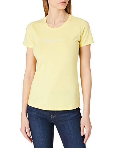 Pepe Jeans New Virginia Camiseta, Amarillo (014sorbet Lemon), L para Mujer