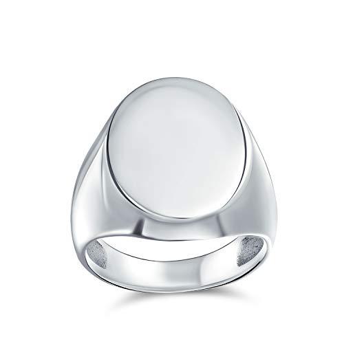 Gran básico simple simple monograma grabado 925 plata esterlina oval signet anillo para hombres mujeres adolescentes shinny acabado