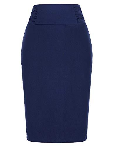 Women's Elastic Waist Stretch Bodycon Midi Pencil Skirt Navy Blue,S