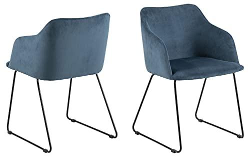 lounge-zone Nils, Silla de Comedor, sillón, Terciopelo, Azul Oscuro, Talla única, 2 Unidades