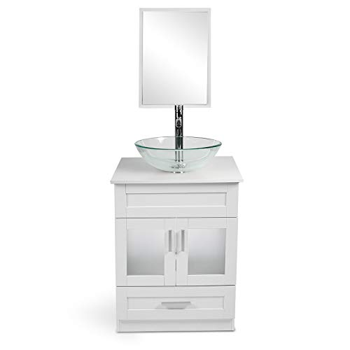 24 Inch White Bathroom Vanity and Sink Combo - with Mirror and Water Saving 1.5 GPM Chrome Faucet Counter Top Floor Cabinet…