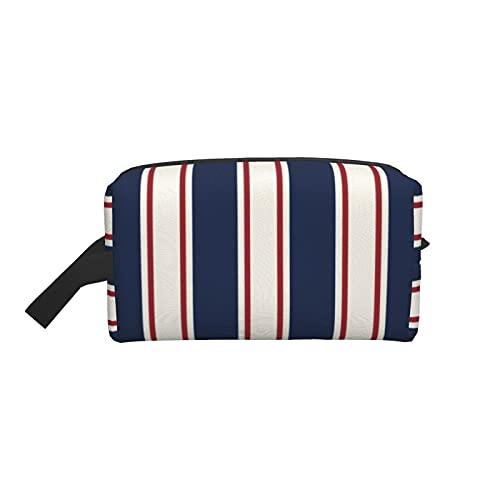 Bolsa de maquillaje de moda para cosméticos, bolsa de viaje azul, rojo y crema vertical Cabana Stripe grande Neceser organizador de maquillaje para mujeres