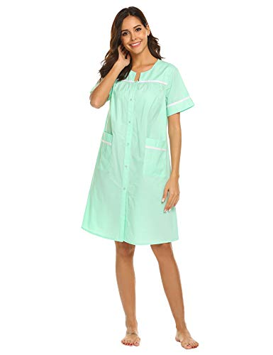 Ekouaer Nightshirt Women's Classic Sleepwear Button-Front House Dress (Sapphire,L)