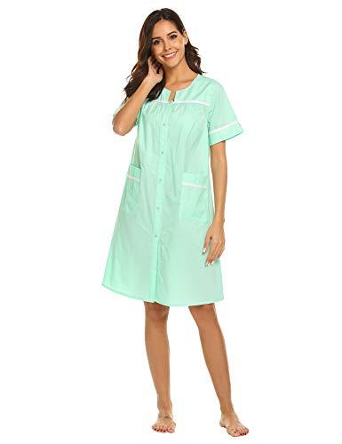 Ekouaer Sleepwear Womens Button Front Cotton Dusters Short Sleeve Housecoats?Sapphire,XXL?