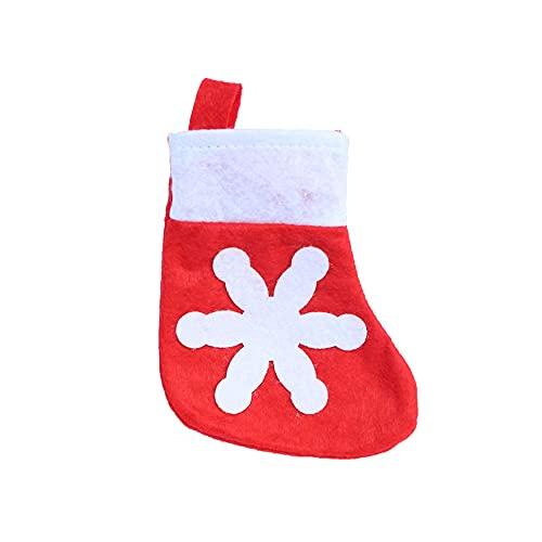 YJYLL 12 Uds, Medias Navide?as, Porta Cubiertos, Mini Calcetines Navide?os con Copo de Nieve, Tenedor, Bolsas para Cuchillos para Decoraciones de Mesa de Cena de Navidad