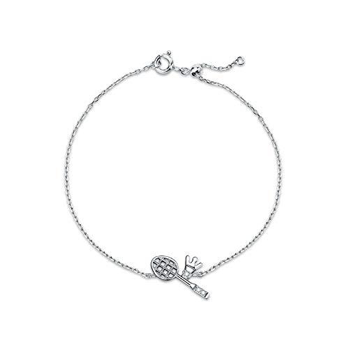 YIYIYYA Damen Armband 925Er Silber,Mode 925 Sterling Silber Badminton Diamant Form Silber Frauen Armband Einstellbare Schmuck Einfache Freundinnen Freunde Geburtstagsfeier