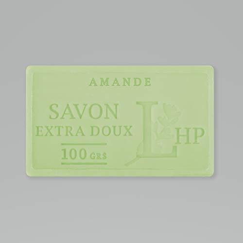 PRODUIT DE PROVENCE - AMANDE - SAVON DE MARSEILLE EXTRA DOUX 100 G - DÉLICAT PARFUM NATUREL D'AMANDE - GARANTI SANS PARABEN