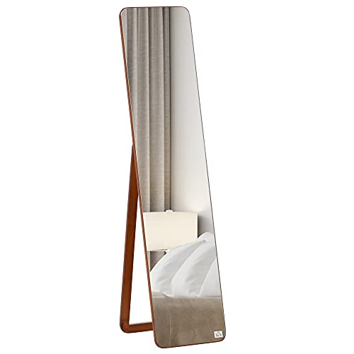 homcom Specchio da Terra e da Parete con Struttura in Legno, Supporto Pieghevole con Cerniera, 37x43x156cm, Noce Chiaro