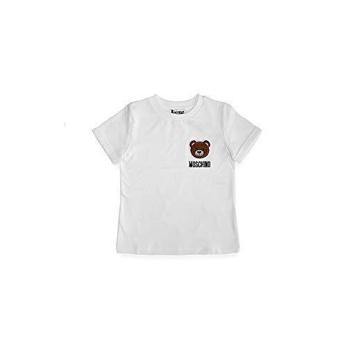 Moschino T-Shirt Bambino Patch Orsetto Bianco HMM02C LBA1010101 Taglie da 4 a 8 Anni 8 A