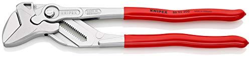 KNIPEX 86 03 300 Zangenschlüssel Zange und Schraubenschlüssel in einem Werkzeug verchromt mit Kunststoff überzogen 300 mm