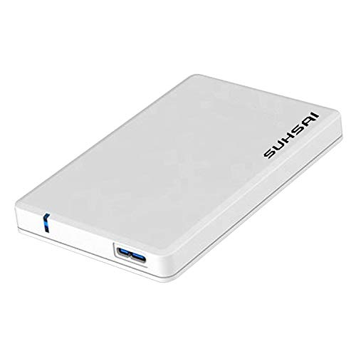 """SUHSAI Portable External Hard Drive, 2.5"""" 3.0 USB Ultrafast Slim Hard Drive for Storage and Back Up for Computer, Laptop, PC, Mac, Chromebook, PS3, PS4, Xbox, Smart TV (500GB, White)"""