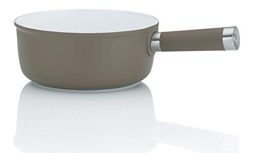 kela 16567 sartén para Fondue de Queso de un Servicio de Aluminio con Revestimiento Interior de cerámica 1L, diámetro 21 cm, Gris