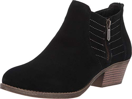 Skechers Women's Lasso-Petrol-Western Influenced Stitched Side Zip Bootie Ankle Boot, Black, 7.5 M US