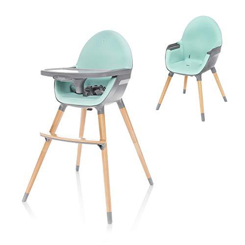 ZOPA Holzhochstuhl DOLCE - ab dem 6. Monat und bis 15 kg, In drei Positionen einstellbares Esstischchen, Kinderhochstuhl Treppenhochstuhl (Ice Green/Grey)