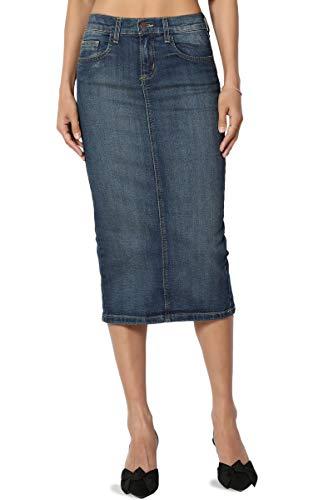 TheMogan Women's Mid Rise Back Slit Pencil Long Midi Denim Skirt Medium 0