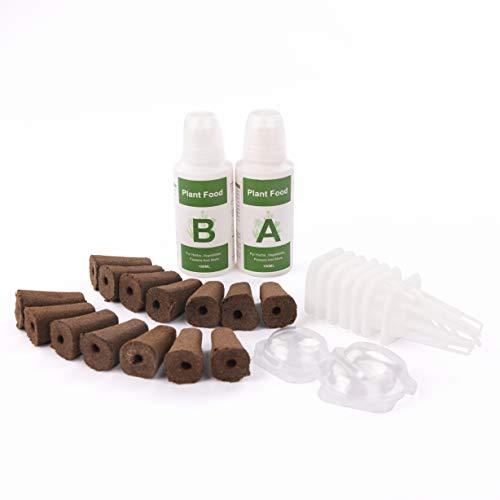 iDOO Seed Pods Kit für Hydroponics Garden Kit, mit 14 Stück Wachstumsschwämmen, 7 Stück Basket Kit, A & B Solid Nutrient (Samen Nicht enthalten & Hydroponische Anzuchtsysteme)