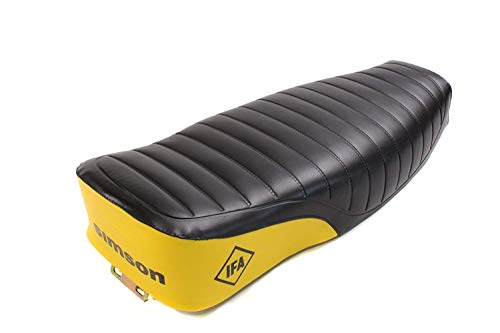ZRM Set:Sitzbank gelb/schwarz gesteppt mit 'IFA SIMSON' Logo für Simson S50 + BISOMO Sticker