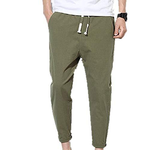 Algodón Hombres Sólidos Pantalones Harem Verano Fitness Casual Tobillo-longitud Mens Pantalones Streetwear