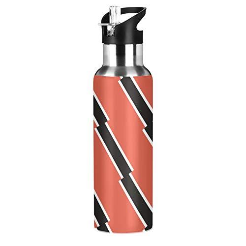 Botella de agua deportiva de acero inoxidable 304 con diseño de bandera de Trinidad y Tobago, con pajita