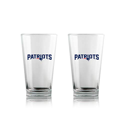 Duck House NFL New England Patriots Clear Highball Pint Glasses | Premium Glassware | Lead-Free | BPA-Free | 16oz | Set of 2