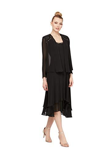 S.L. Fashions Women's Embellished Chiffon Tiered Jacket Dress, Black, 14 (Apparel)