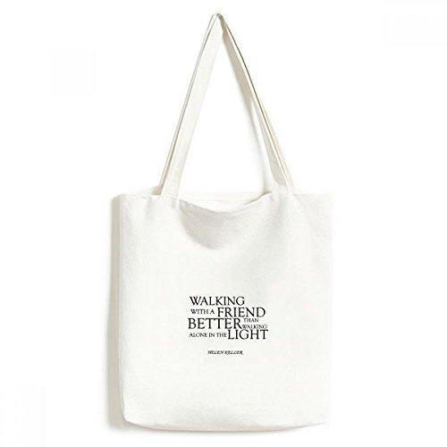 DIYthinker Zitat über Freundschaft von Helen Keller Umwelt Waschbar Einkaufs-Tasche Fertigkeit-Geschenk 33 * 40cm Mehrfarbig