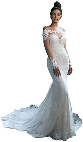 iluckin Women's Off The Shoulder Lace Mermaid Wedding Dresses with Train Long Sleeves Bridal Ball Gown for Bride Plus White
