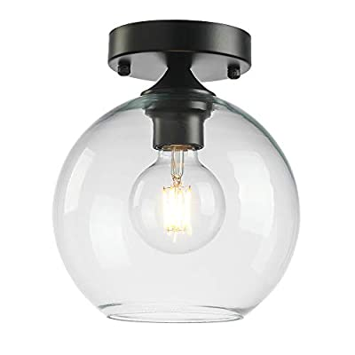 Popity home Industrial Farmhouse Metal Base Clear Glass Black Semi Flush Mount Ceiling Light, Schoolhouse Ceiling Lighting Fixtures for Hallway,Entryway,Kitchen,Bedroom,Living Room,1-Light