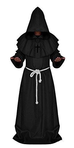 Medieval Monk Robe Cosplay Halloween Hooded Cape Costume Cloak Black X-Large