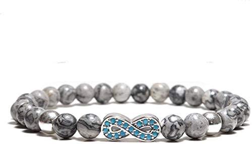 GIAOYAO Pulsera de Piedra Mujer, 7 Chakra Perlas de Piedra Natural de mármol Brazalete Elástico Silver Joyería ilimitada Yoga Pulseras de energía ORIMIR DIFUSIÓN DIFUSIÓN Mujeres para EL Regalo