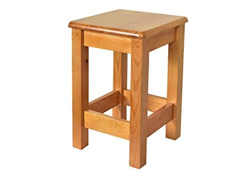 Mebel Verso Hocker Holz Hocker Schemel Holz Massivholzsitz ohne Lehne in Kiefer massiv Holzhocker massiv Sitzhocker Holz Holzstuhl I Kiefernholz