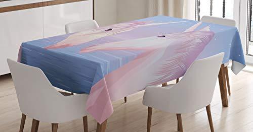 ABAKUHAUS Cheval Nappe, 2 Akhal Teke Unicorns, Linge de Table Rectangulaire pour Salle à Manger Décor de Cuisine, 140 cm x 200 cm, Lilas et Fard à Joues