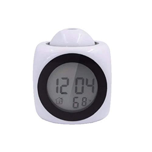 ZBNZ Reloj despertador digital,tiempo electrónica LED Display,Cubic Mini Mini Medidor de dormitorio,Mesita de luz (Color : White)