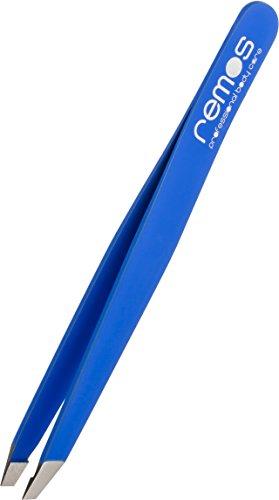 REMOS® Augenbrauenpinzette aus Edelstahl - Dunkelblaue Pinzette entfernt feinste und kürzeste Härchen - Geeignet für Augenbraue, Bart und Haare - Hochwertige Qualität