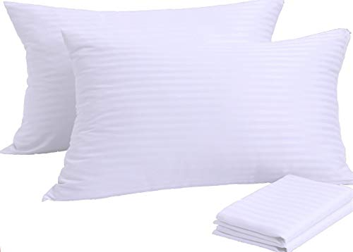 Pillow Protectors 4 Pack Standard 20x26 Inches PillowCases Covers ?? Reduces Allergies ??White Protectors Premium High 200 300 Thread Count Cotton Sateen Set Zippered Hotel Quality