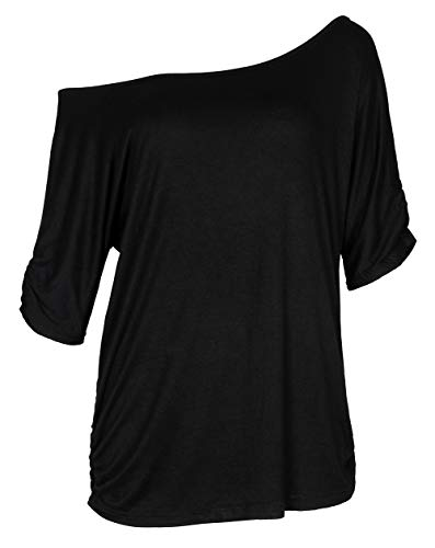 Smile Fish Women Casual Oversized Soft Cotton Comfy Off Shoulder T-Shirt Black,XL