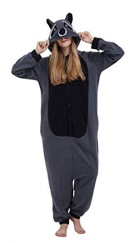 SAMGU Adult Pyjama Cosplay Tier Onesie Body Nachtwäsche Kleid Overall Animal Sleepwear Erwachsene Grau S