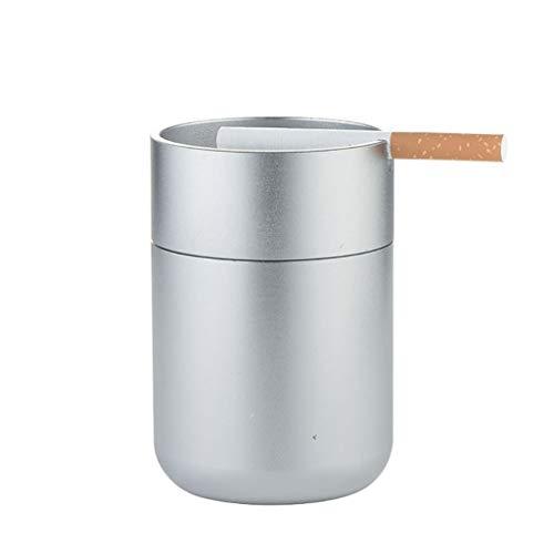 Winddicht Smokeless Asbak, Auto met deksel Asbak, Grote effen kleur Ratio Asbak Outdoor, Tabletop Portable sigaret asbak, Ash houder for Rokers (Color : Silver)