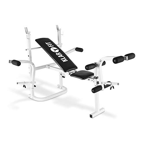 Klarfit Workout Hero - Multistation, Hantelbank, Sit Up Bank, Langhantelablage, Arm- & Beincurler mit Gewichtsaufnahme, antikweiß