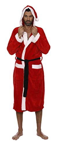 INTIMO Santa Hooded Plush Robe - Men's Red