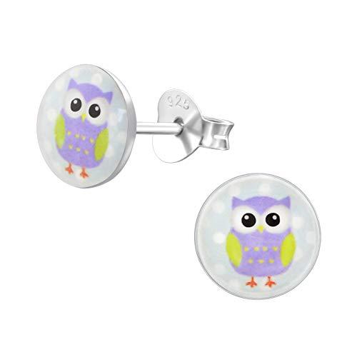 Laimons - Orecchini per bambine e bambini, motivo gufo, uccellino, disco viola, in argento Sterling 925